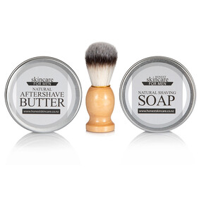 Men's Shaving Kit - Natural 26 Week Shaving Soap, Aftershave Butter and Bamboo Shave Brush
