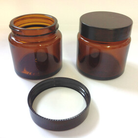 60ml Amber Cosmetic Pot with Black Wadded Lid