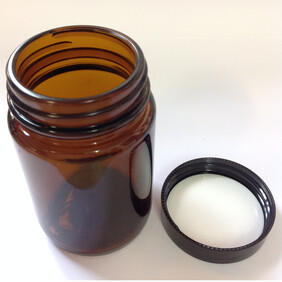 125ml Amber Cosmetic Pot with Black Wadded Lid - Bulk Savings